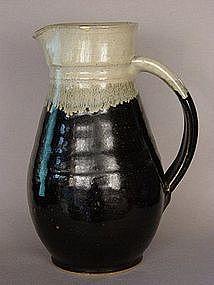 Mashiko Yaki, Black Glaze Pitcher, ca. 1965