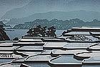 """Clifton Karhu Woodblock Print """"Snow at Tango Cho"""", 1980"""