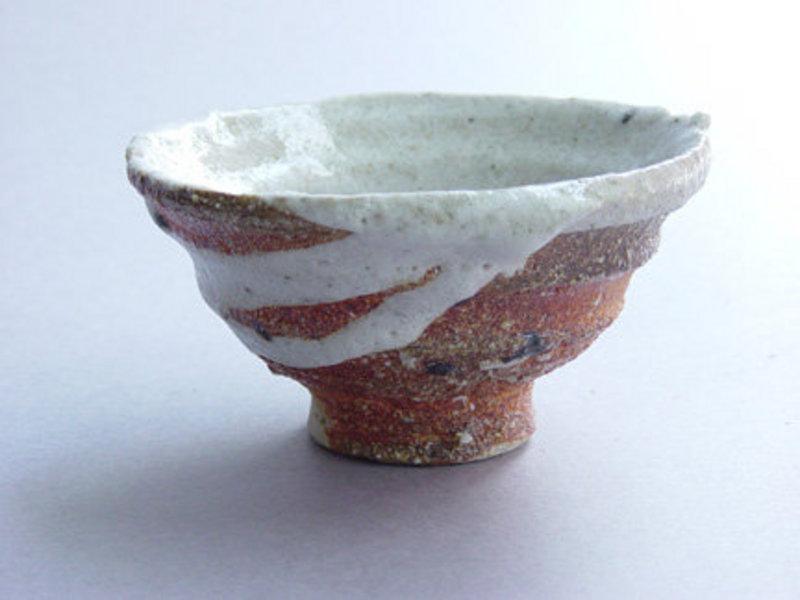 Sake Cup, Guinomi, Woodfired, Shino Glaze, G. Gledhill