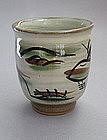 Mashiko Teacup, Yunomi, Sansui (landscape) Pattern