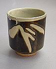 Mashiko Teacup, Yunomi, Black Glaze, Sasa Pattern