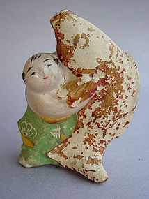 Tsuchi Ningyo, Clay Doll; Kintaro with Giant Carp