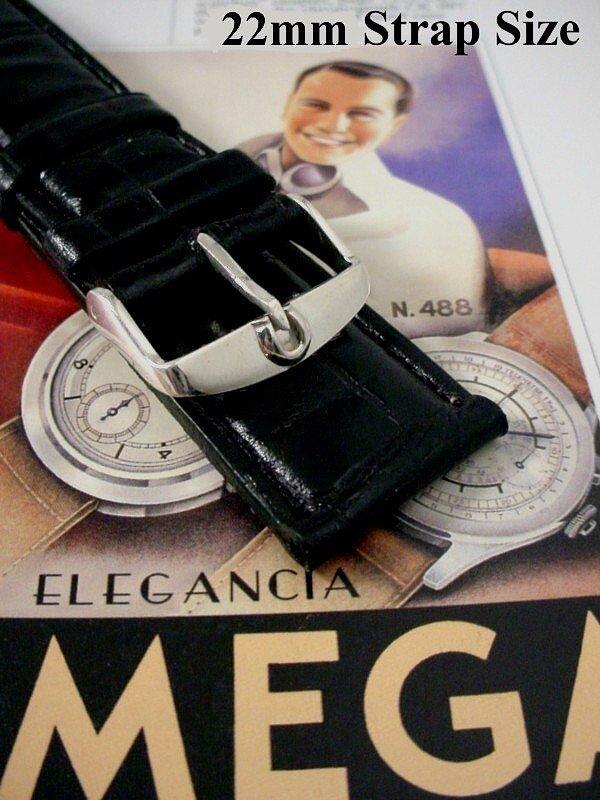 OMEGA 16mm Silver Logo Buckle 18mm Black Croc Calf Stra