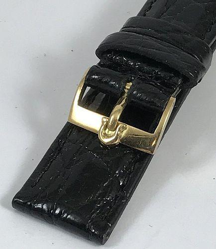 OMEGA 18k Gold 16mm Logo Buckle on 18mm Black Genuine Crocodile Strap