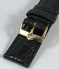 OMEGA 18k Gold 16mm Logo Buckle on 18mm Black Genuine Crocodile Strap