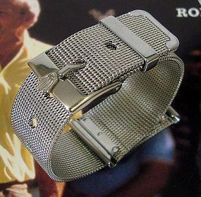 ROLEX 16mm Logo Buckle 20mm MESH METAL Old Style Swiss Generic Strap