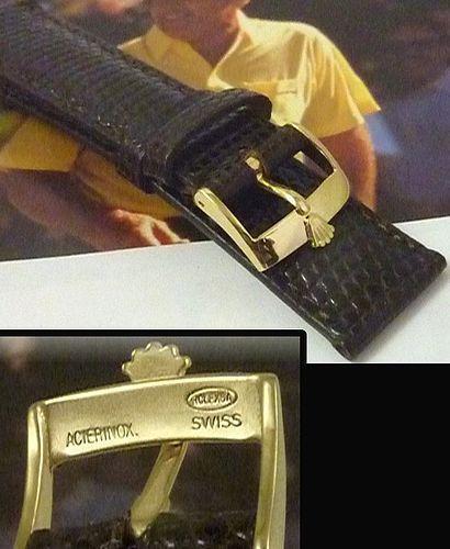 Rolex DATE OYSTERDATE 16mm Steel Logo Buckle 19mm Tobacco Lizard