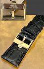 Rolex 18k GOLD 16mm Logo Buckle 20mm BLACK CROCODILE Strap