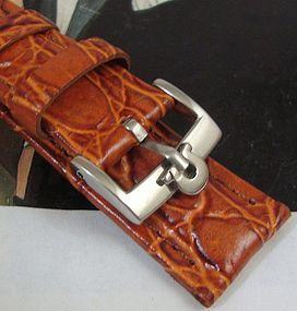 Omega 16mm Steel Logo Buckle Cognac Crocodile Pattern Leather Strap