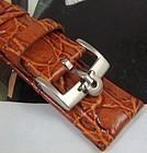 Omega 16mm Steel Logo Buckle Cognac Crocodile Pattern Leather Strap