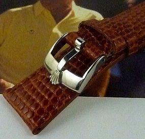 ROLEX 16mm Steel Logo Buckle Genuine LIZARD Cognac Color 20mm Strap
