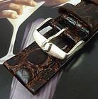 Omega 18mm Silver Logo Buckle 22mm Dk Brown Croc Calf