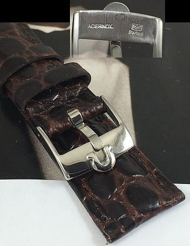 Omega Steel Logo Buckle 20mm Crocodile Calf Strap for the Speedmaster