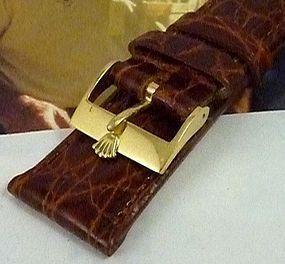 ROLEX 18k GOLD 16mm Logo Buckle Cognac Genuine CROCODILE 19mm Strap