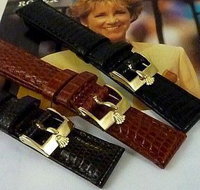 Rolex LADIES DATEJUST date 12mm Plated Logo Buckle 14mm TOBACCO LIZARD