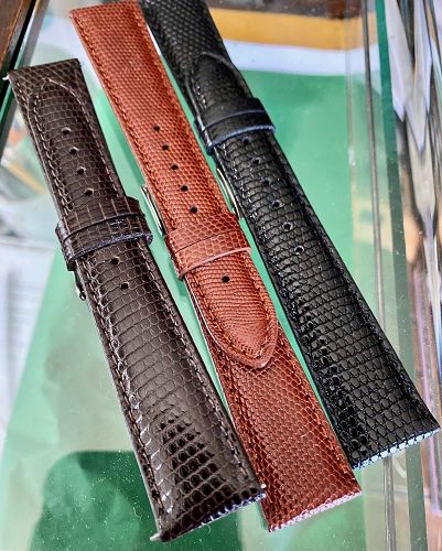 Genuine LIZARD Strap ROLEX 20mm or 19mm by 16mm buckle fit - 3 Colors