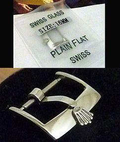 ROLEX Steel PLAIN FLAT SWISS 16mm Logo Buckle EX. LARGE CROWN Packaged