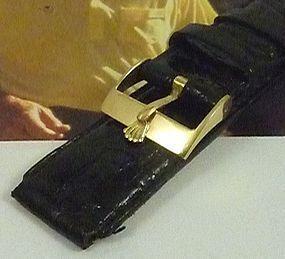 ROLEX 16mm 18k Yellow Gold .750 ROLEXSA SWISS 16mm CROCODILE Strap