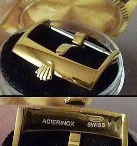 ROLEX 18mm Logo Buckle 18k Yellow Gold Plate Laser ACIERINOX ROLEXSA