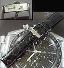 OMEGA SPEEDMASTER Series 18mm Steel Logo Buckle 20mm CROCODILE