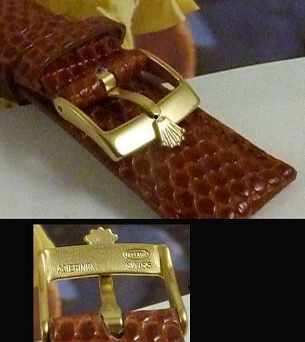 ROLEX 16mm Logo Buckle 18k Gold Plate 20mm Cognac Genuine LIZARD