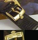 ROLEX 16mm Logo Buckle 18k Gold Plate 20mm Tobacco LIZARD