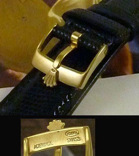 ROLEX 16mm Logo Buckle 18k Gold Plate 19mm Black Lizard Strap
