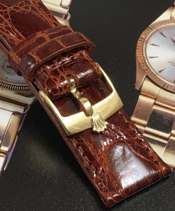 ROLEX 14k GOLD DATE 16mm Buckle 19mm Cognac CROCODILE C:1968