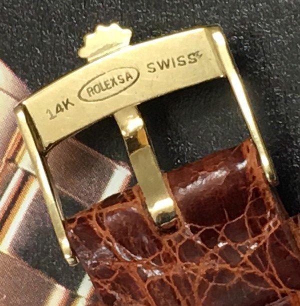 ROLEX 14k GOLD DATE 16mm Buckle 19mm Cognac CROCODILE C:1968