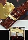 ROLEX 18mm Yellow Logo Buckle 20mm Cognac Color Genuine CROCODILE