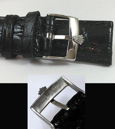 ROLEX 18mm Steel Logo Buckle 20mm Black Genuine CROCODILE