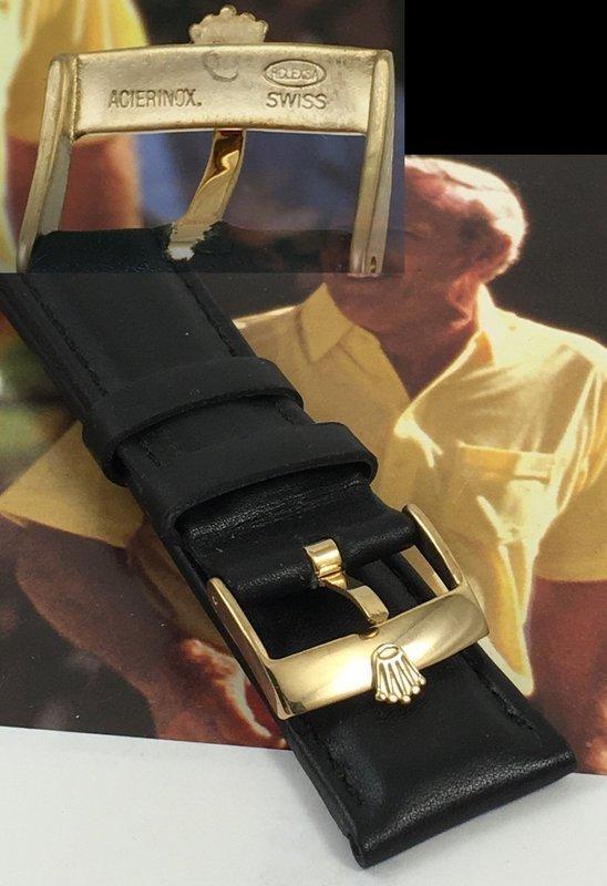 Rolex 18mm GOLD Plate Logo Buckle 20mm Black Leather High Grade