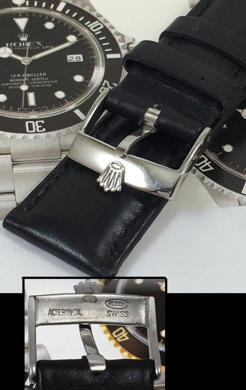 ROLEX 18mm Steel Logo Buckle 20mm Black SWISSE QUALITE Leather Strap