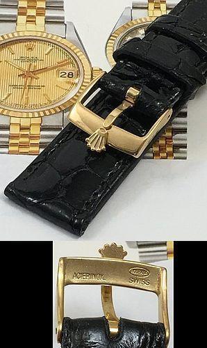 ROLEX DATEJUST 18k Gold Plate 16mm Buckle 20mm Black CROCODILE