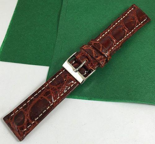 Genuine CROCODILE 20 STRAP Padded Stitched CONGNAC High Grade ITALIAN