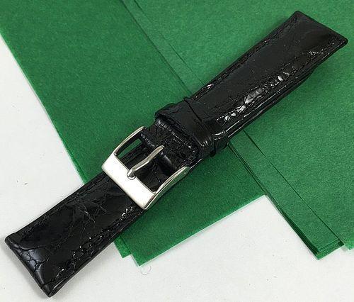 Genuine CROCODILE 19mm STRAP Padded Stitched Black High Grade ITALIAN