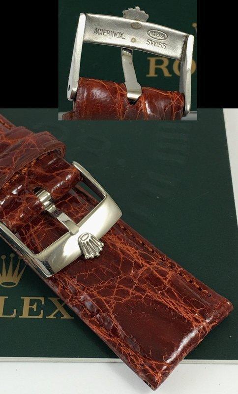 ROLEX DATEJUST II 18mm Steel Logo Buckle 22mm Cognac Genuine CROCODILE