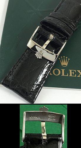ROLEX DATEJUST II 18mm Steel Logo Buckle 22mm Black Genuine CROCODILE