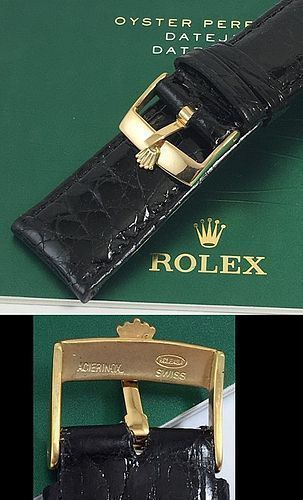 ROLEX DATEJUST II 18mm Yellow Logo Buckle 22mm Black Genuine CROCODILE