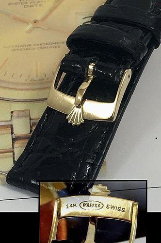 Vintage ROLEX DATEJUST 14k GOLD Logo Buckle 20mm Black CROCODILE Strap
