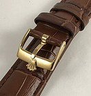 ROLEX 16mm Plated Logo Buckle 19mm Crocodile Pattern Leather Strap