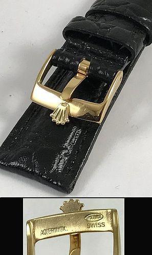 ROLEX 16mm 18k Gold Plate Logo Buckle 20mm Black Crocodile Pattern