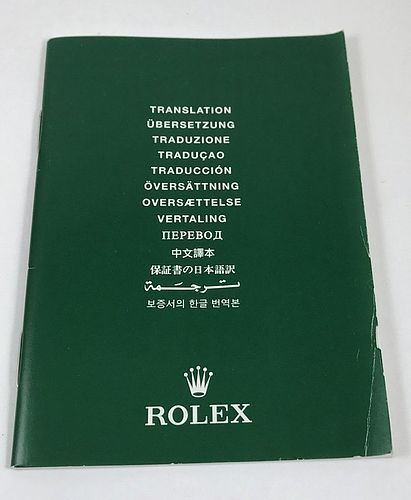 ROLEX Translation Brochure 13 Languages 20 Pages 3 by 4 inch