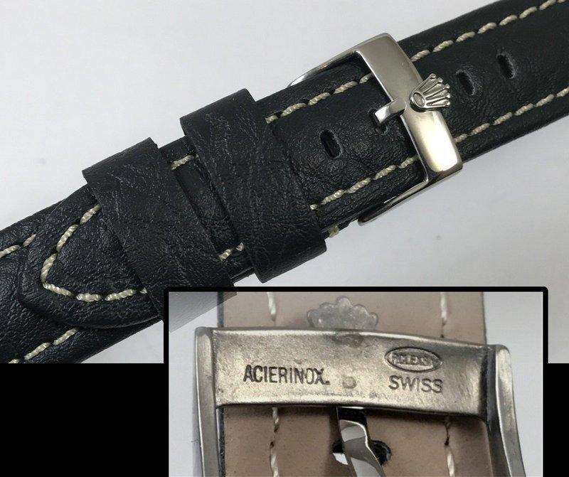 ROLEX SUBMARINER Design 18mm Steel Logo Buckle 20mm Black Strap