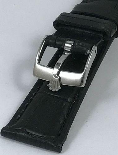 ROLEX SPORT Model 16mm Steel Buckle 20mm Black Crocodile Calf Strap