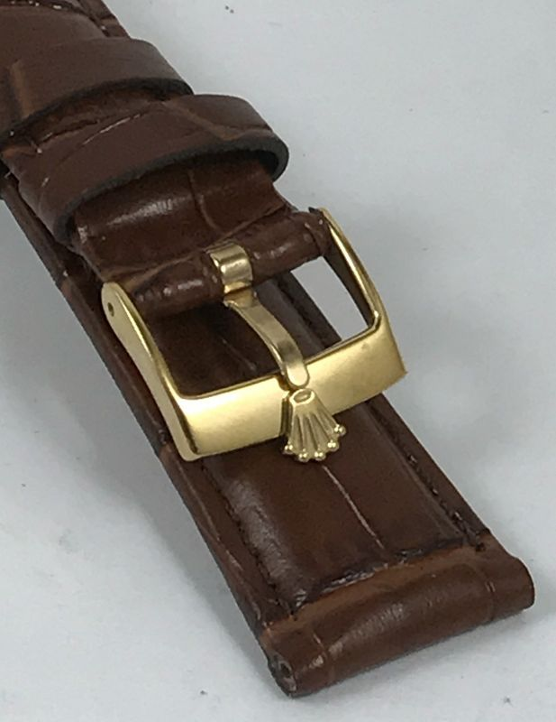 ROLEX DATEJUST Model 16mm Yellow Buckle 20mm Brown CROCODILE Calf