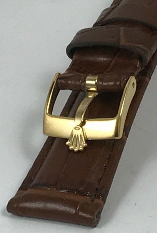 ROLEX DATEJUST Model 16mm Yellow Buckle 20mm Brown CROCODILE Calf