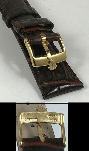 ROLEX DATEJUST Model 16mm Yellow Buckle 20mm Burgundy Croco Calf Strap