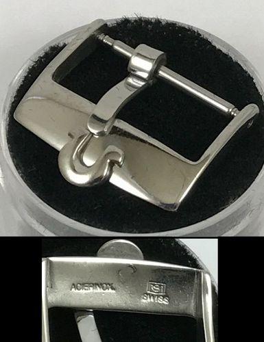 OMEGA 18mm Steel Logo Buckle PLAIN FLAT SWISS in Package