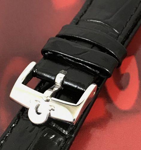 OMEGA Steel 16mm Logo Buckle 18mm Black Croco Pattern Leather Strap